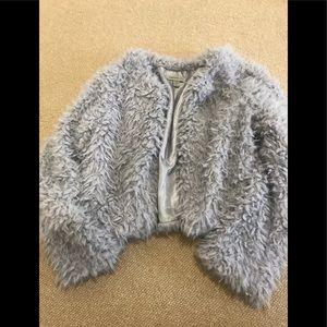 Jackets & Blazers - Grey fuzzy crop jacket small